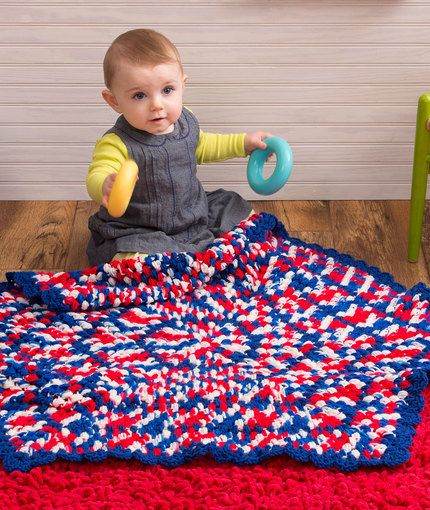 Patriotic Hexagon Baby Blanket Free Crochet Pattern From Red Heart