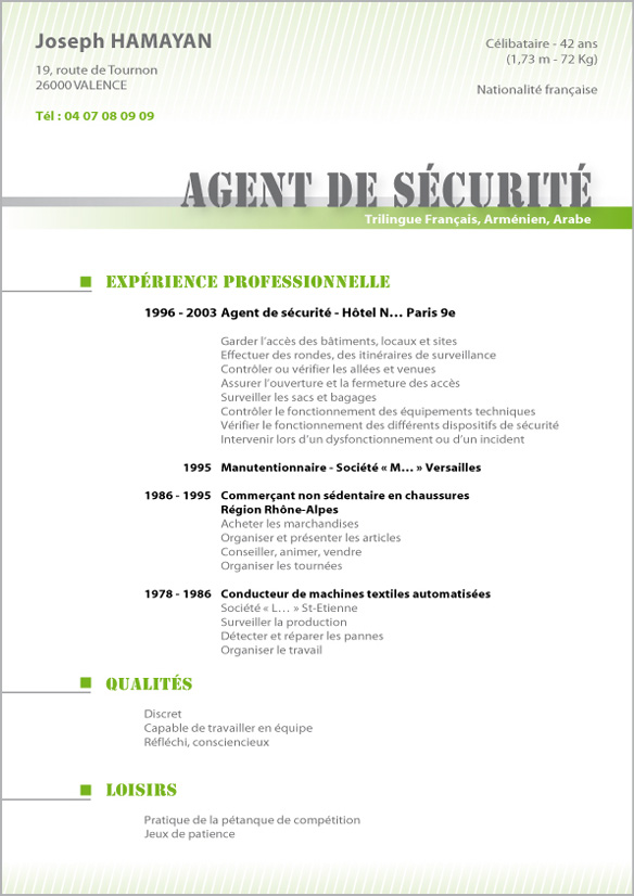 Exemple Cv Agent Securite Creation Cv Par Cv Facile Exemple Cv Lettre De Motivation Agent De Securite