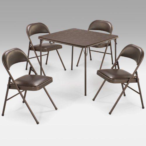 Meco Sudden Comfort 5 Piece Card Table Set Cinnabar Color