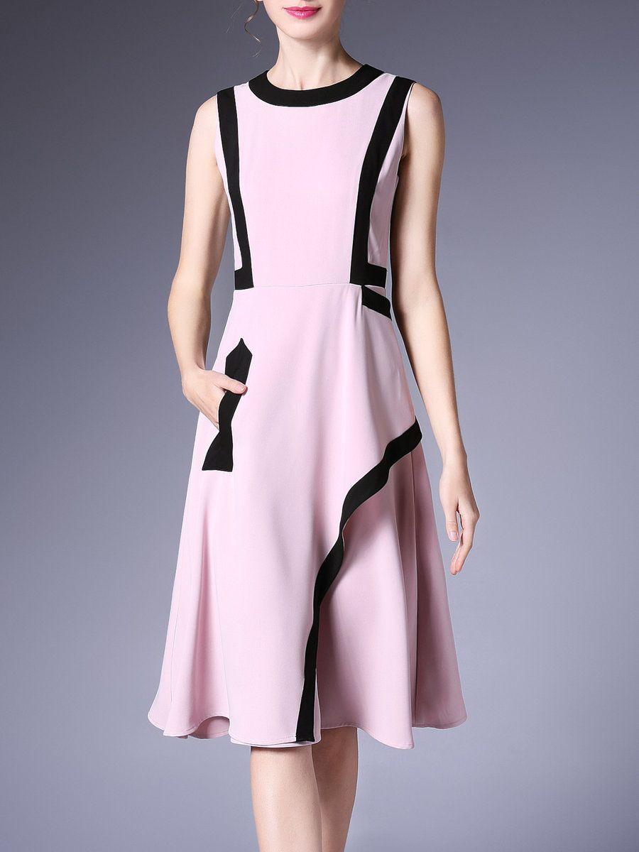 AdoreWe StyleWe Midi Dresses - ke-ying-yi Cotton-blend Color-block ...