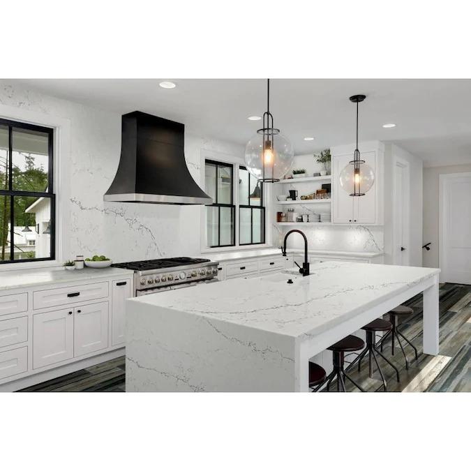 Allen Roth Skyward Quartz White Kitchen Countertop Sample Lowes Com White Modern Kitchen Kitchen Design White Kitchen Design