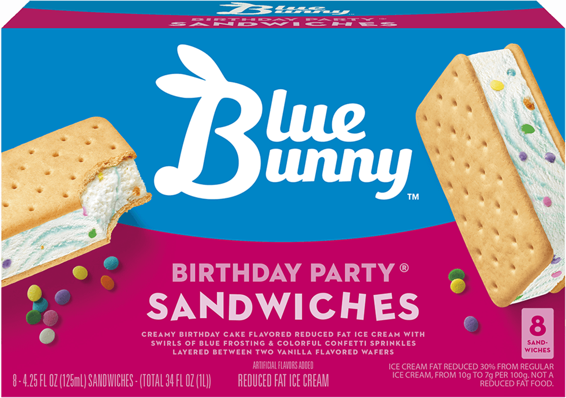 Birthday Party Sandwiches Blue Bunny Ice Cream