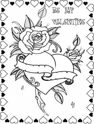 Раскраска на 14 февраля, роза и сердце.   Бесплатные ...