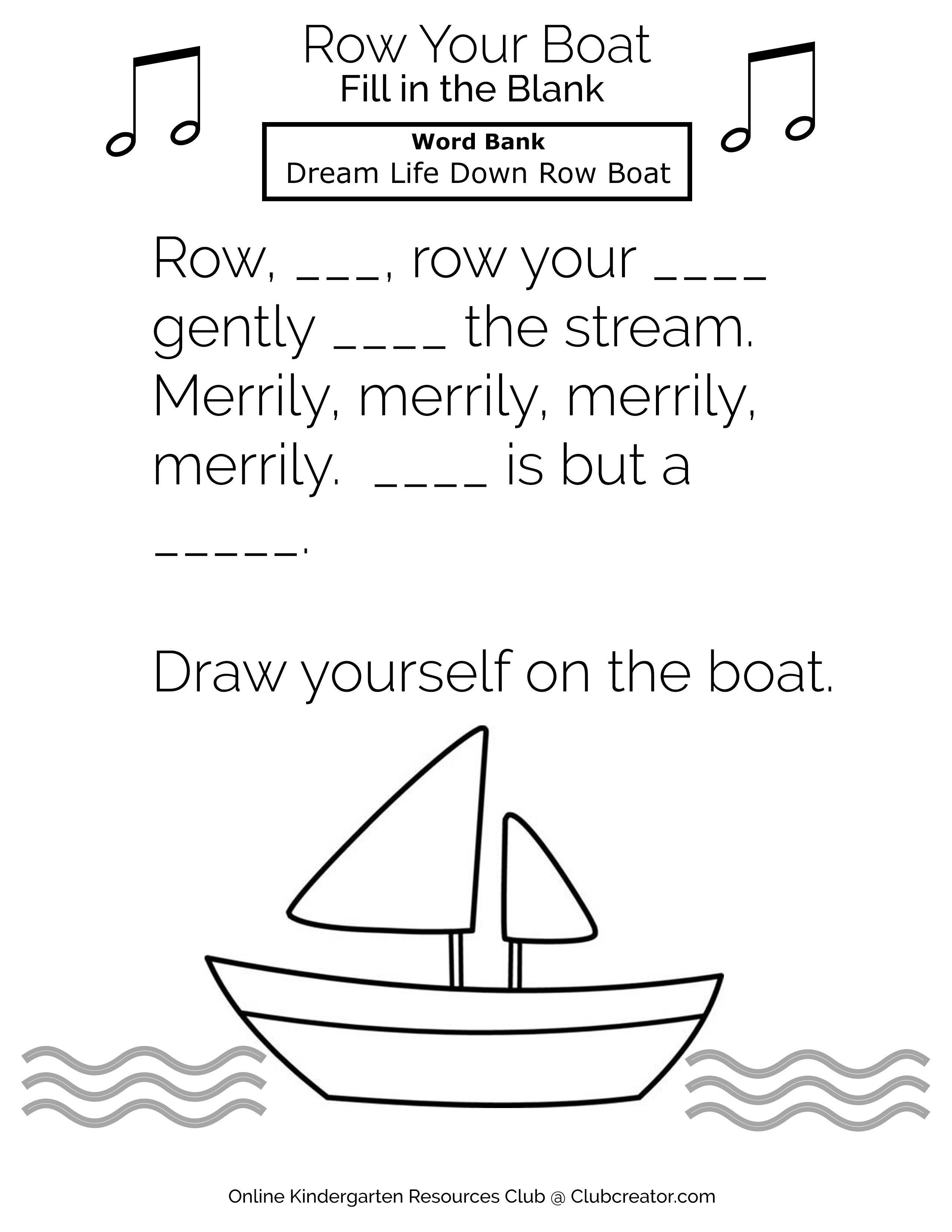 Row Your Boat Fill In The Blank Online Kindergarten Homeschool Worksheets Kindergarten Resources [ 3300 x 2550 Pixel ]