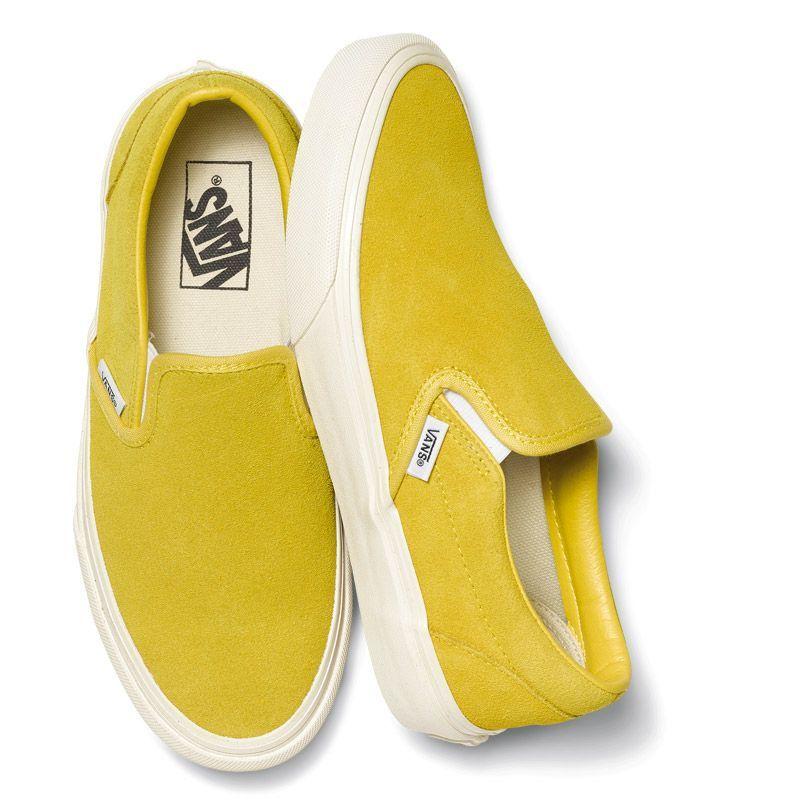 d538f87fca The Original Slip-On - Sulphur Vintage Suede Yellow Slip On Vans