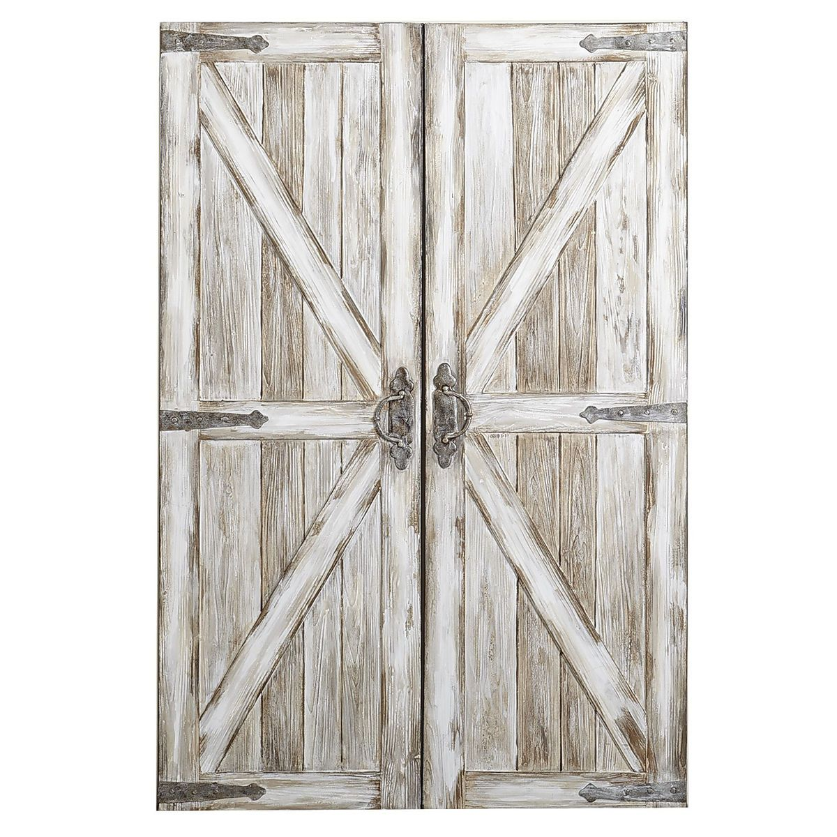 Rustic Barn Doors Art   Antique White   Acrylic   Home Decor Wall Art Ideas