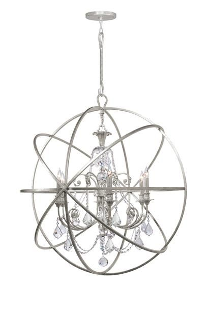 Crystorama Solaris 6 Light Spectra Crystal Silver Sphere Chandelier