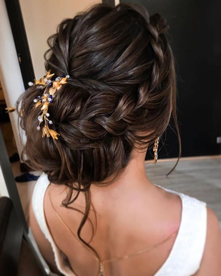 front braided + messy updo hairstyle ideas, wedding hairstyle . bridal hairstyles ,prom hairstyles #weddinghair #hairstyleideas
