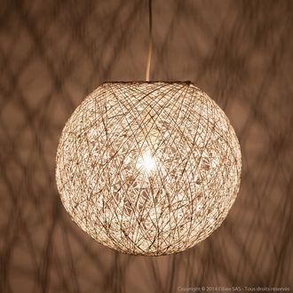 suspension boule en rotin blanc diam tre 38 cm hauteur 34 cm kirou luminaire pinterest. Black Bedroom Furniture Sets. Home Design Ideas