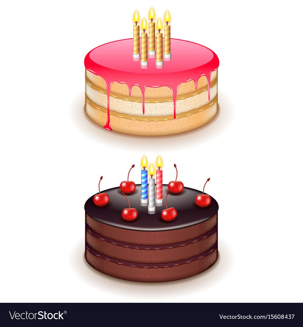 Birthday Cake With Candles Isolated On White Vector Image On En 2020