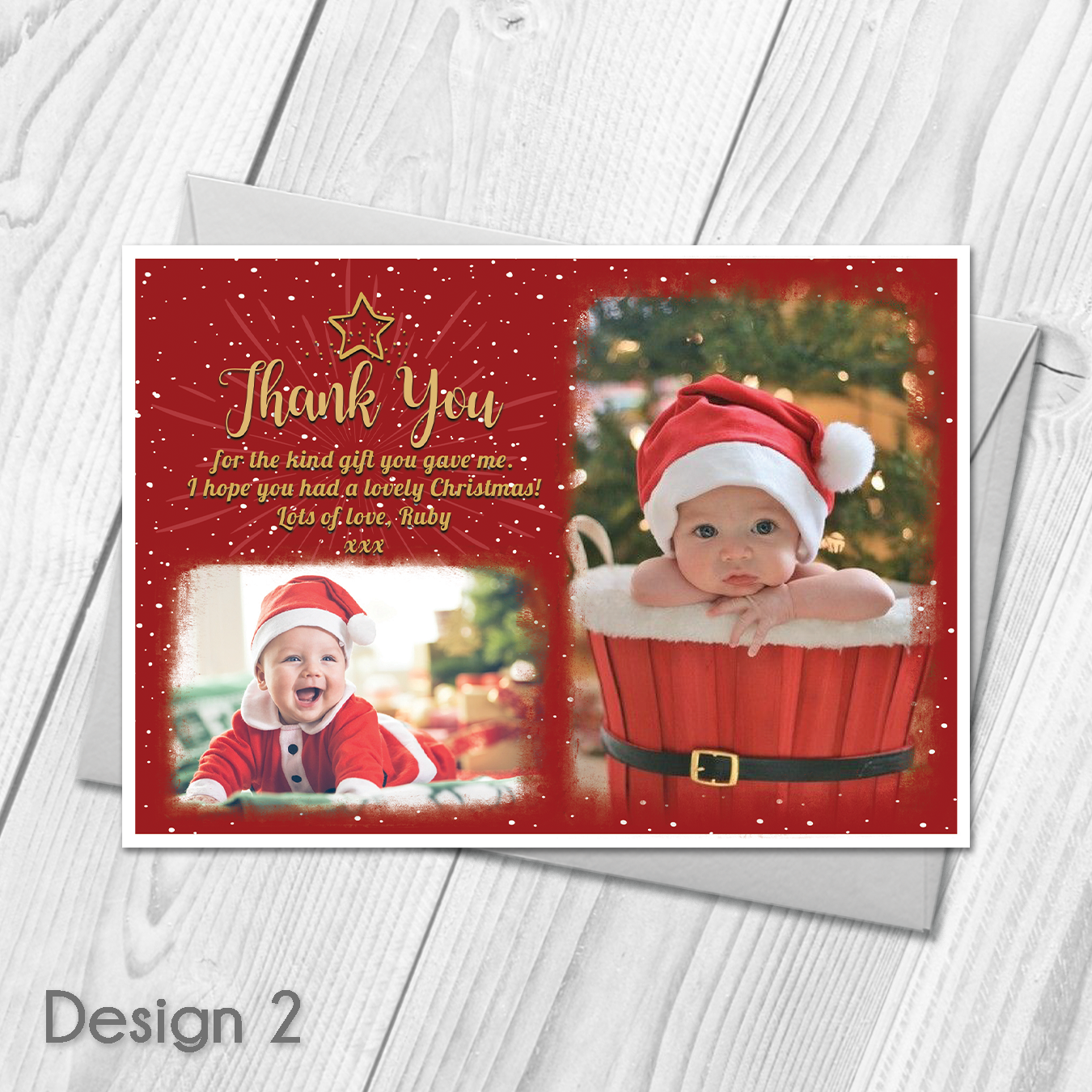 Personalised Christmas Thank You Cards Notes With Photo | Xmas Thank ...