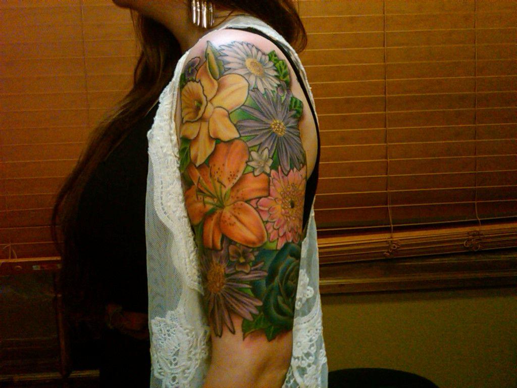 girl flower half sleeve tattoos Tattoos for women half