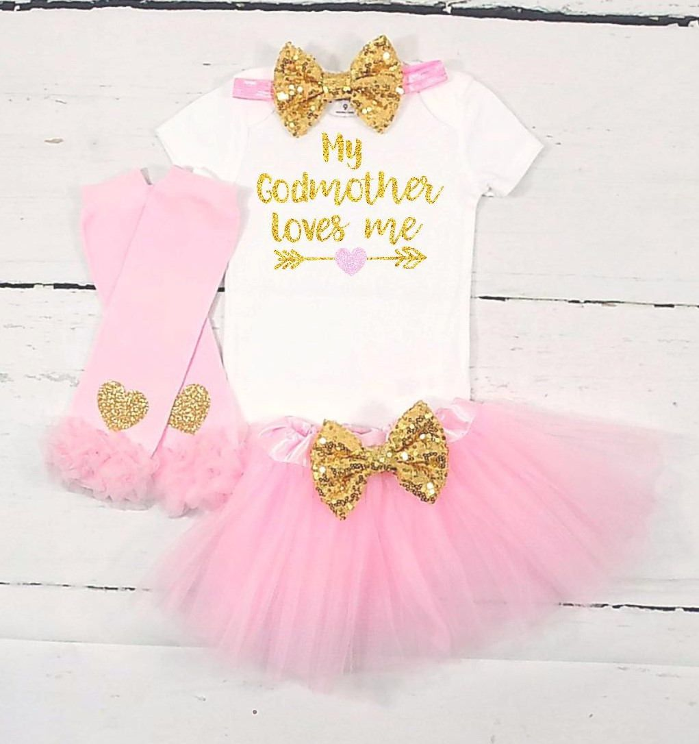 9ae138070 godmother outfit godmother shirt my god mother loves me goddaughter outfit  goddaughter shirt baby shower gift pink and gold baby girl outfit by ...