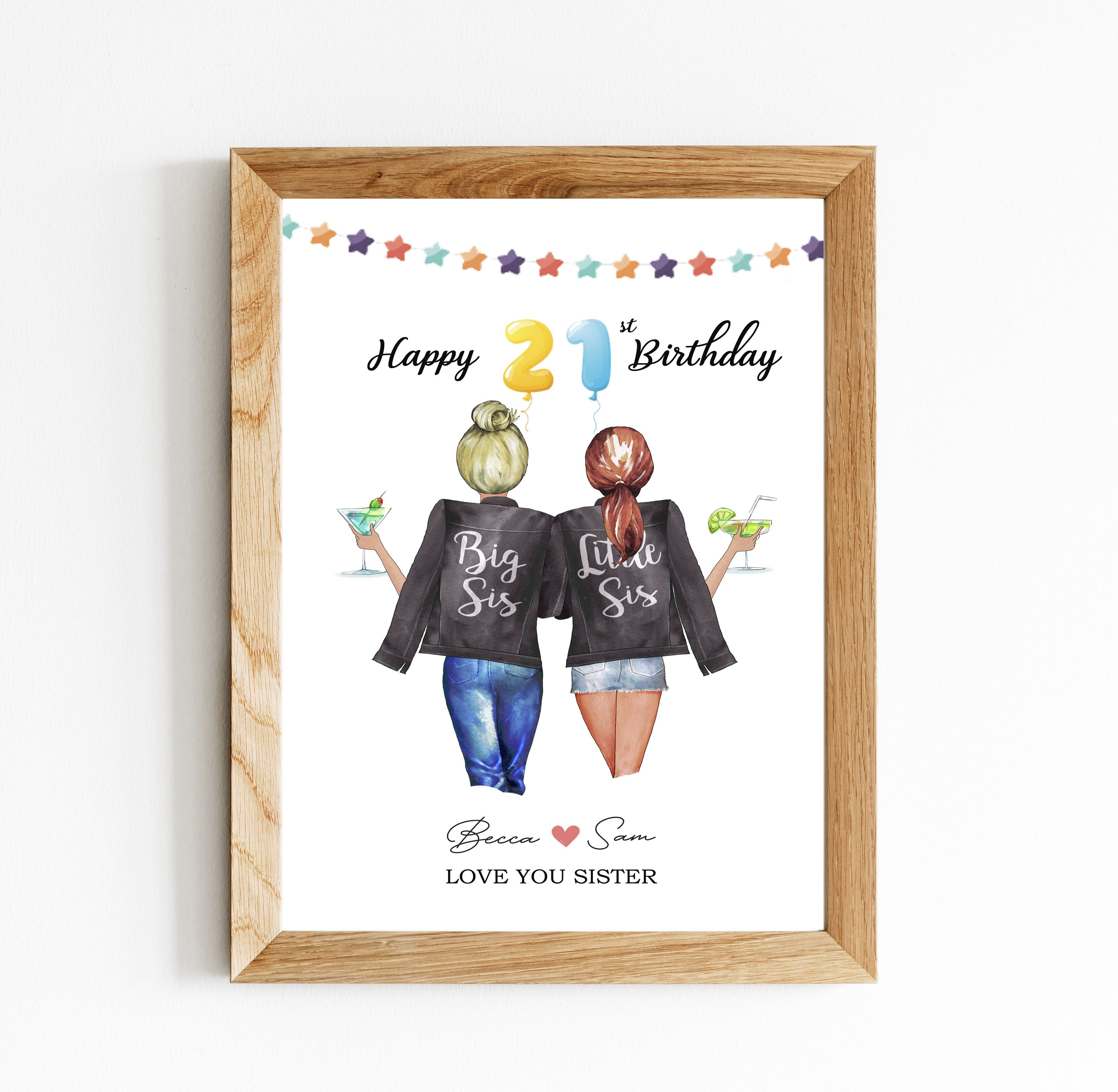 21st Birthday Card Sister Birthday Gift Big Sis Little Sis Print Best Friend Gift Personalized 21st Birthday Cards Sister Birthday Card Big Birthday Cards