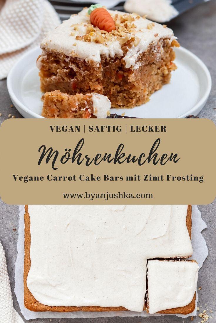 Vegane Carrot Cake Bars mit Zimt Frosting (Möhrenkuchen)