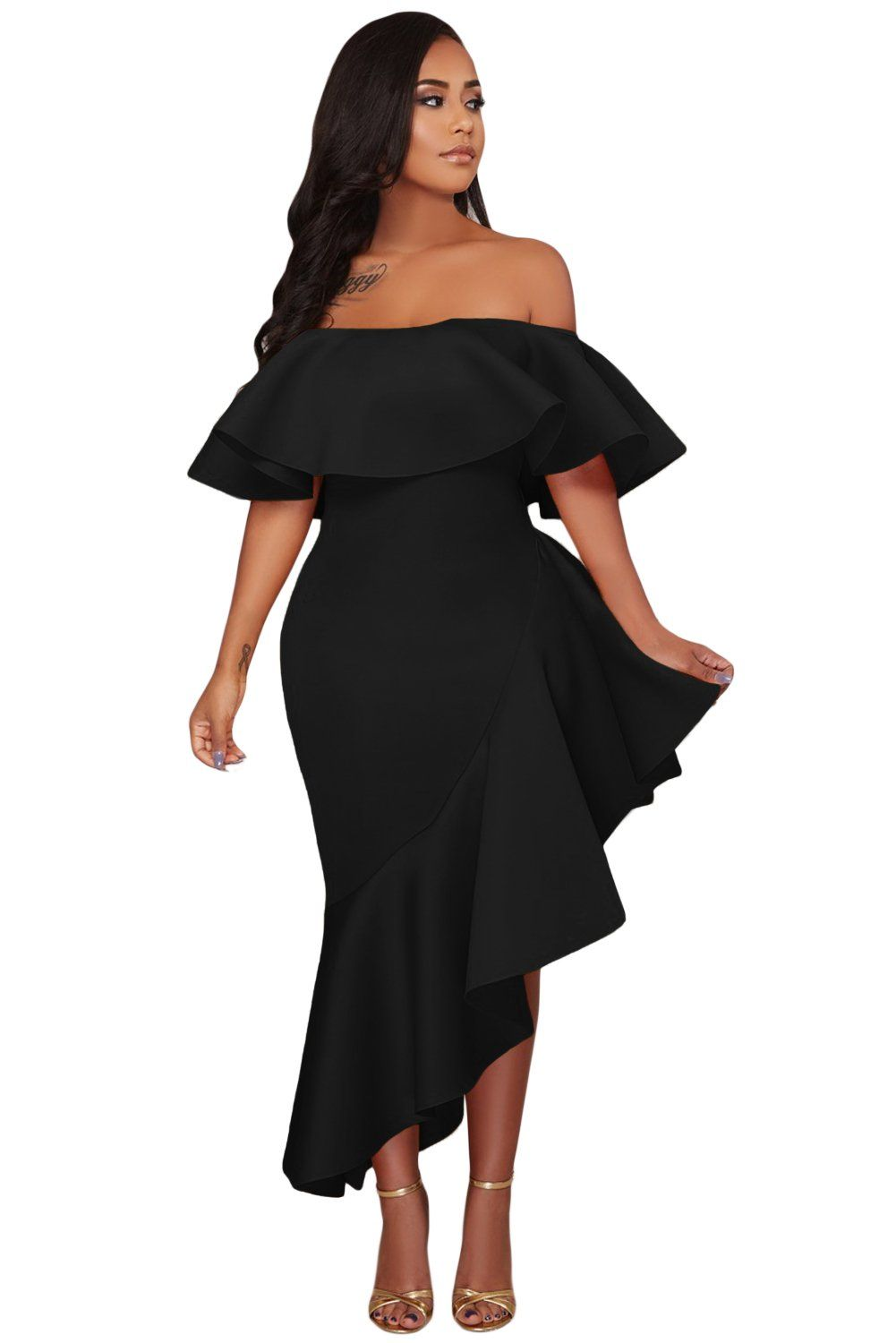 1a6ade79eef Black Asymmetric Ruffle Off Shoulder Party Dress in 2019 | Products ...