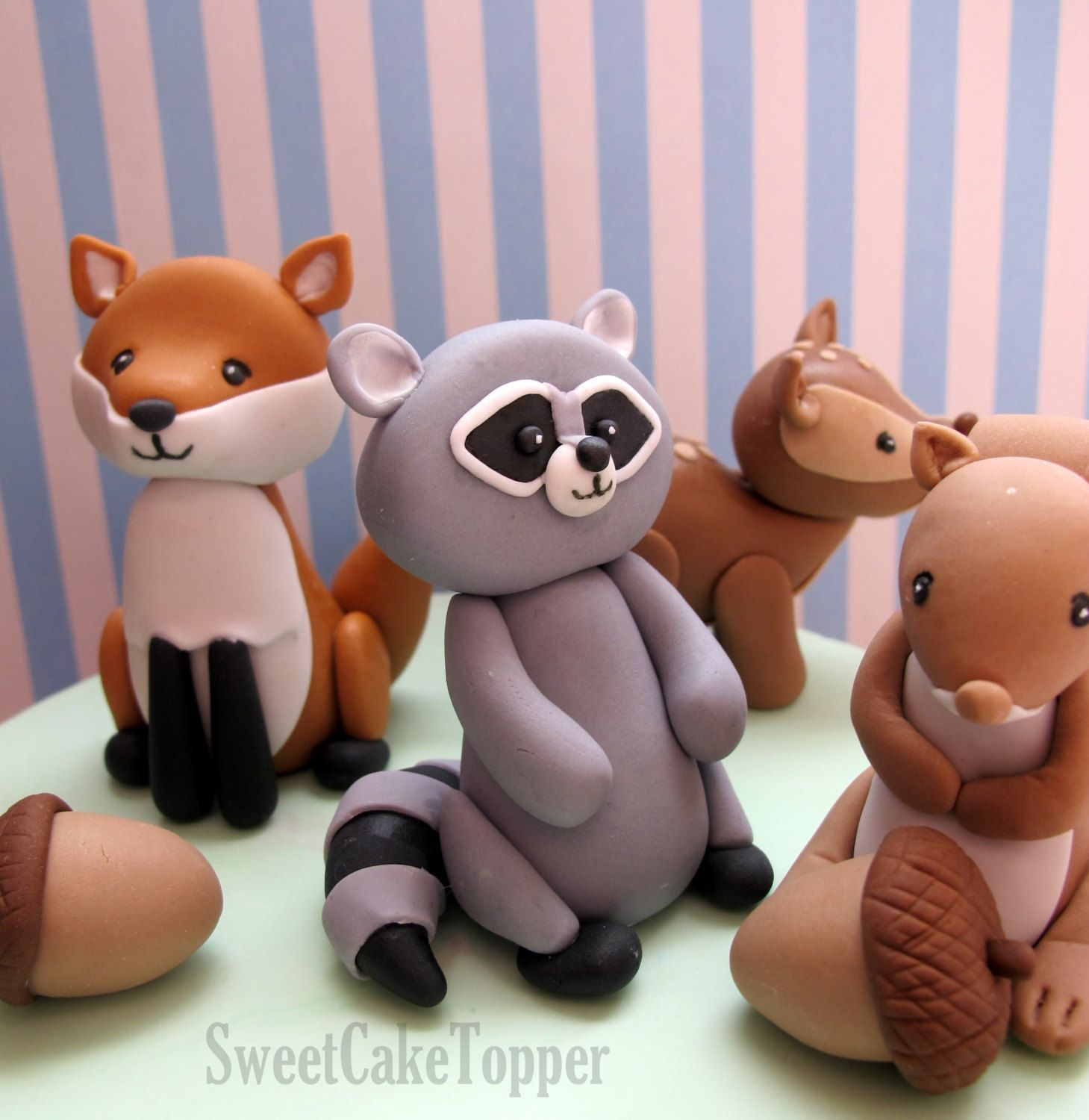 Ready Made Woodland Animal Cake Toppers Fox Raccoon Etsy Animal Cake Topper Animal Cake Woodland Animals