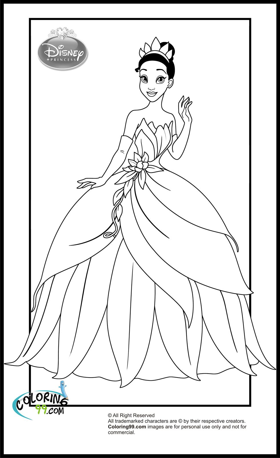 disney princess tiana coloring pages Disney princess