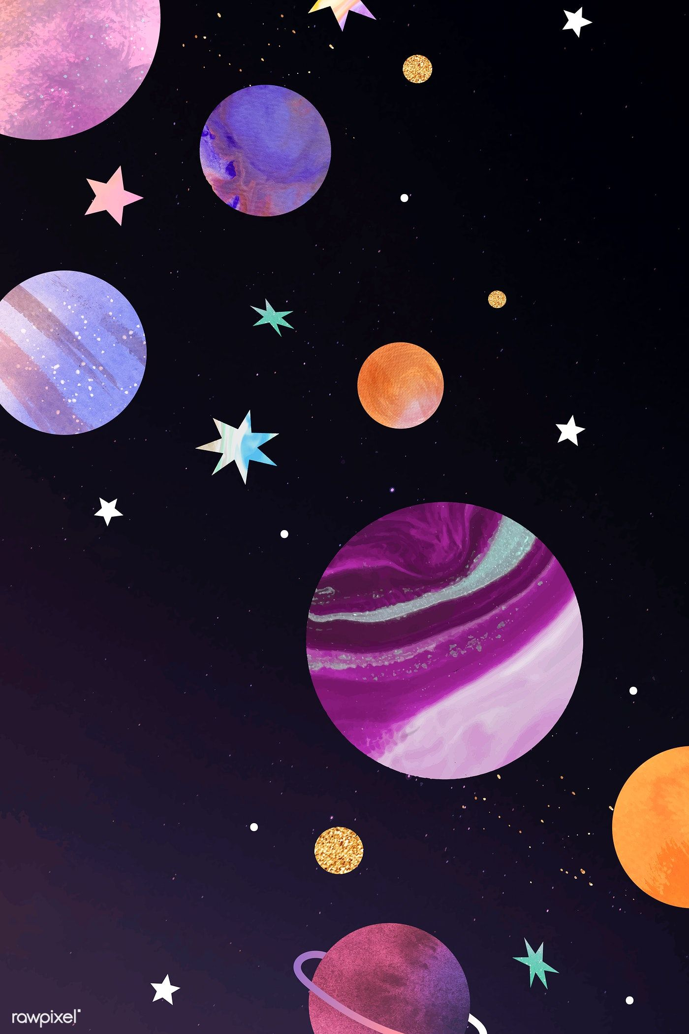 Download Premium Vector Of Colorful Galaxy Watercolor Doodle On Black Watercolor Galaxy Cute Galaxy Wallpaper Space Drawings