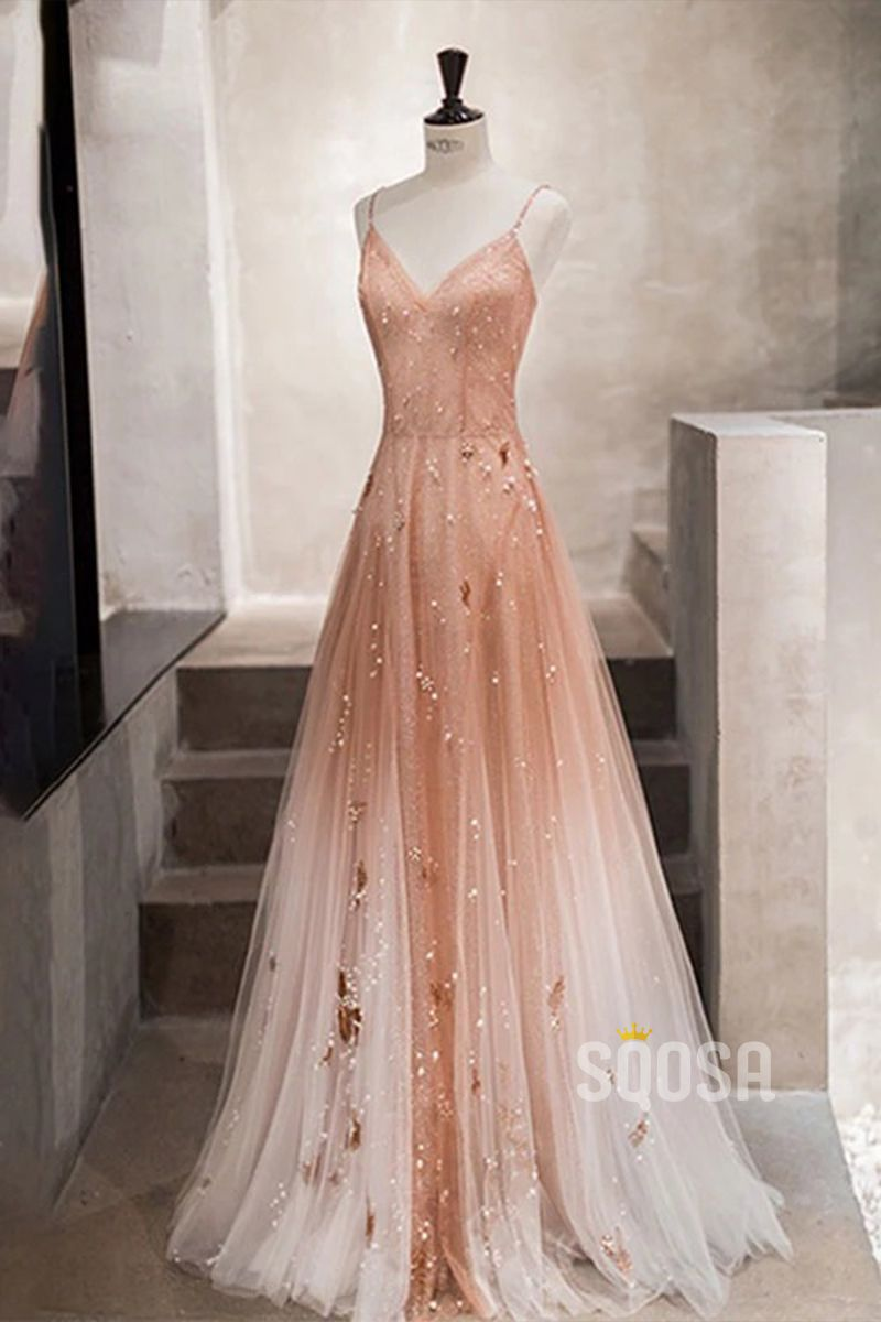 Chic Omber Spaghetti Straps V Neck A-Line Long Prom Dress QP17