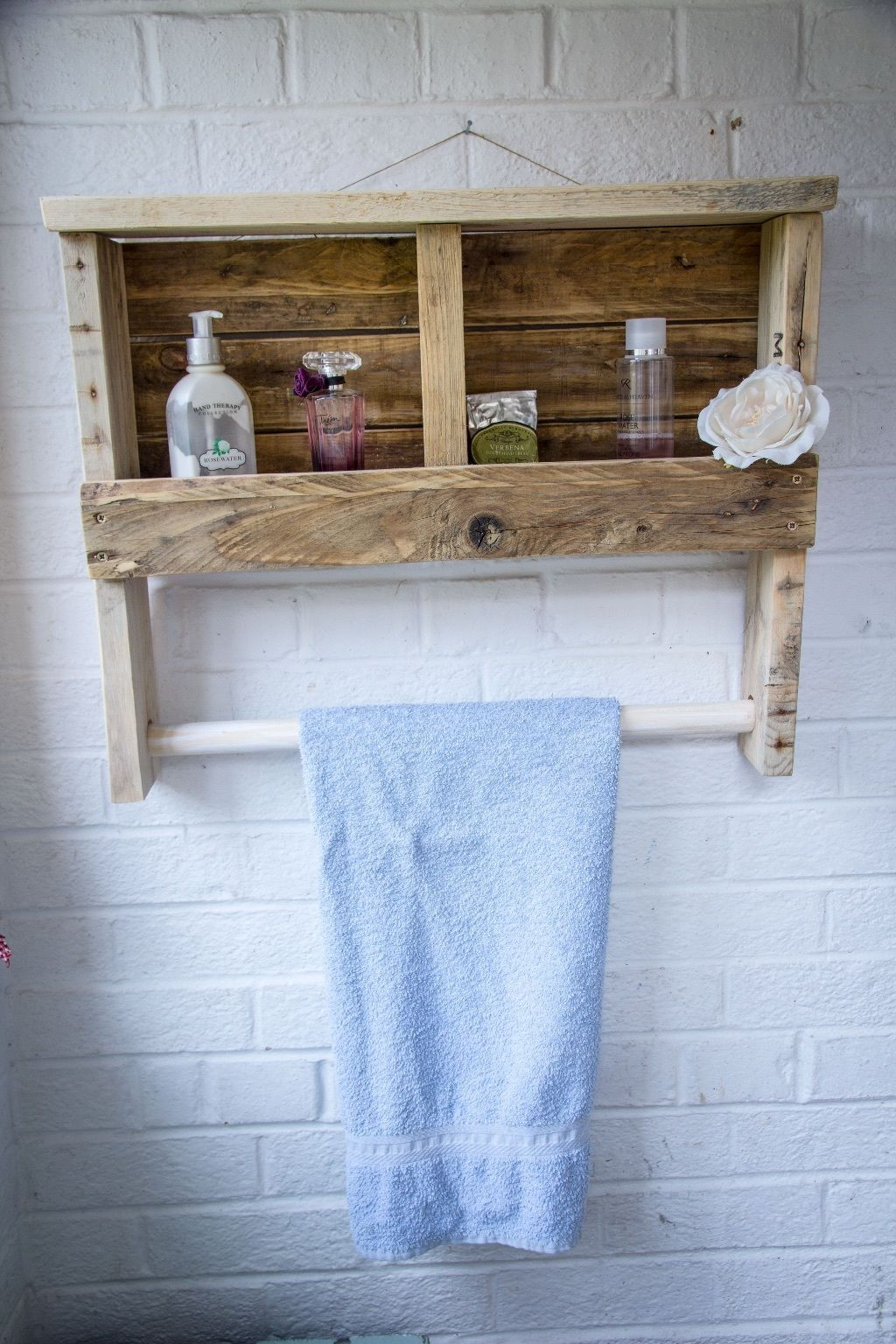 Rustic Wooden Towel Rail with Shelf made from reclaimed pallet wood ...