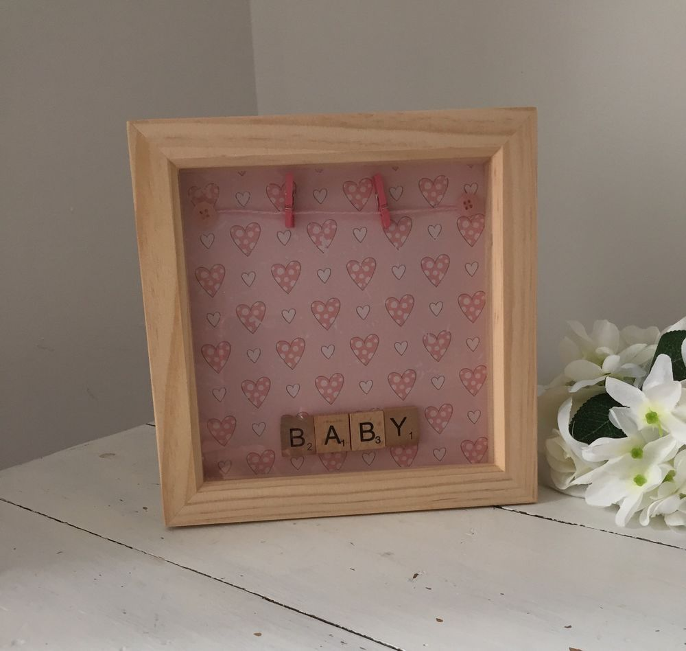 Handcrafted baby box frame great for christening new baby gift handcrafted baby box frame great for christening new baby gift ebay jeuxipadfo Gallery