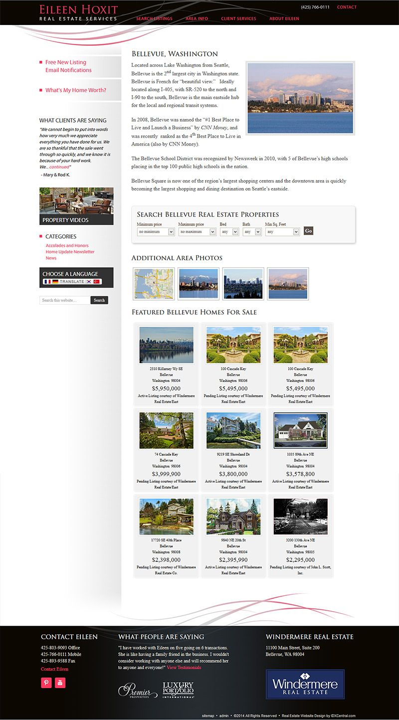 View The Neighborhood Profile Pages That Displays Real Estate Listings In The Bellevue Was Real Estate Website Design Custom Website Design Real Estate Website