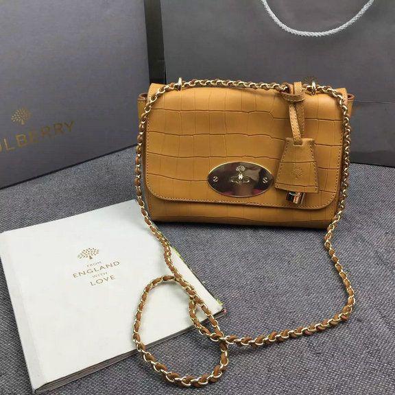 2016 Spring Mulberry Lily Shoulder Bag in Camel Croc Leather