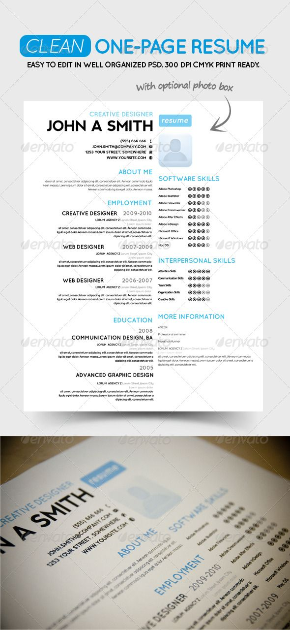 Clean One-Page Resume #GraphicRiver Clean One-Page Resume CV A - sample one page resume