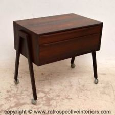 DANISH ROSEWOOD RETRO SIDE TABLE / SEWING CHEST VINTAGE 1960s
