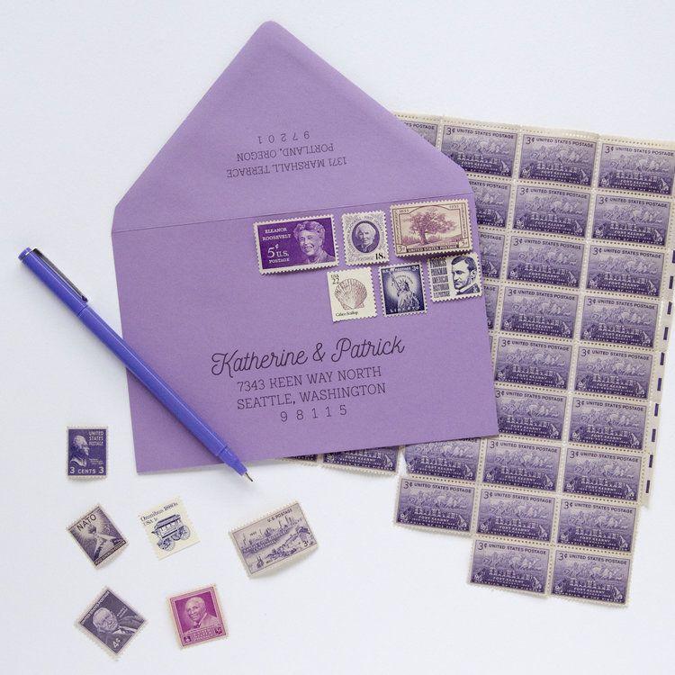 PURPLE Vintage Stamp Set Vintage stamps, Letterpress