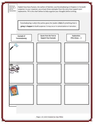 photograph regarding Hatchet Worksheets Printable called No cost Education Products for Hatchet through Gary Paulsen TpT