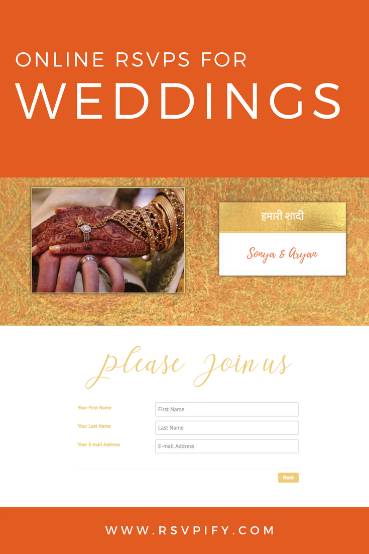 Indian Wedding Invites! Collect RSVP's for your multi