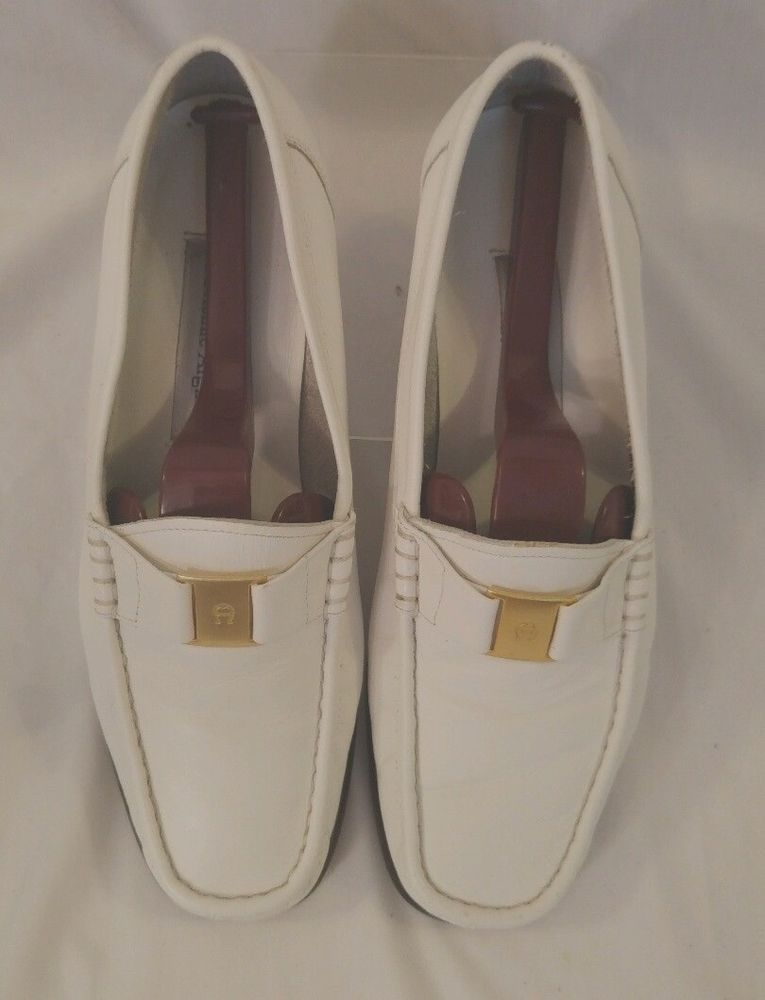 90d97d27ac0 Etienne Aigner White Leather Chicklet Loafer Sz 7 1 2 - 8 M EUC   EtienneAigner  LoafersMoccasins  Casual