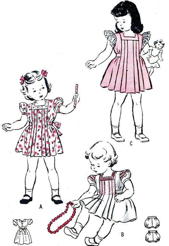 1940s Girls Dress Pattern Butterick 4331 Toddler Girls Puff Sleeve ...