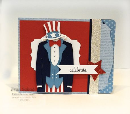 Fran uses the SU! Pop 'n Cuts Card Base, the Label Framelits and the *FREE* Uncle Sam template for this awesome 4th of July card. stampersblog: Seeing Stars