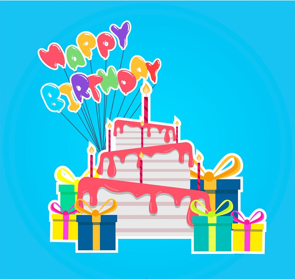 Colorful Birthday Cake And Gift Box Stickers Free Vector