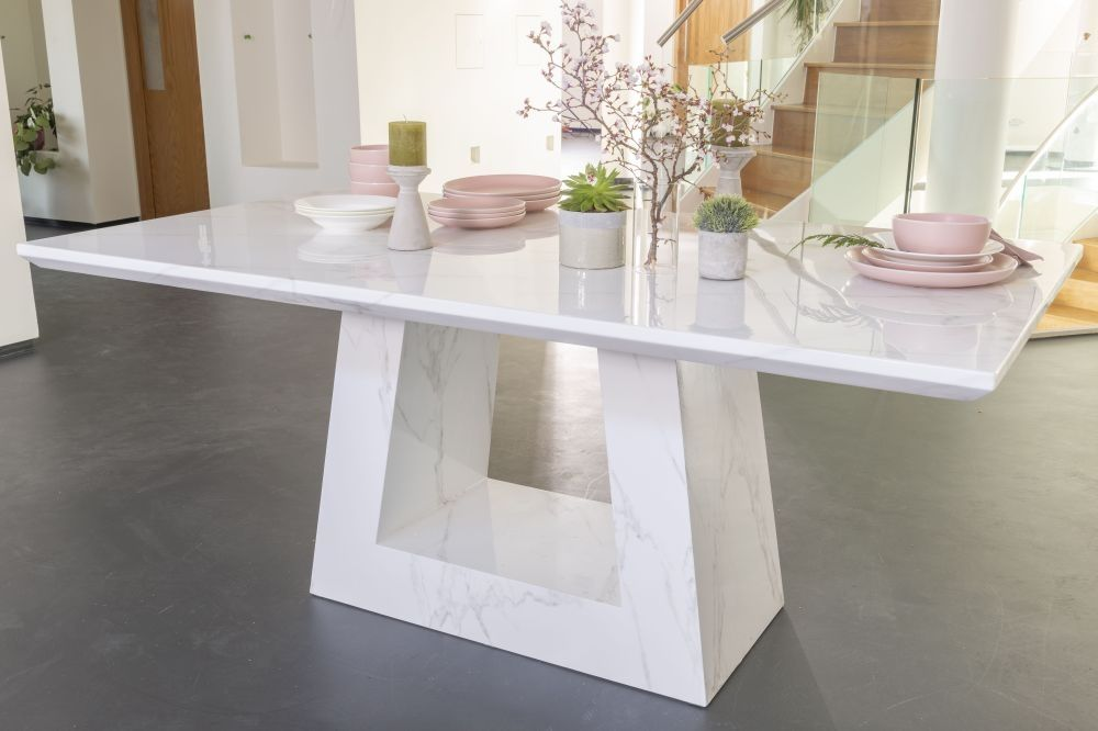 Urban Deco Milan White Marble 180cm Rectangular Dining Table Dining Table Marble Marble Dining Dining Table
