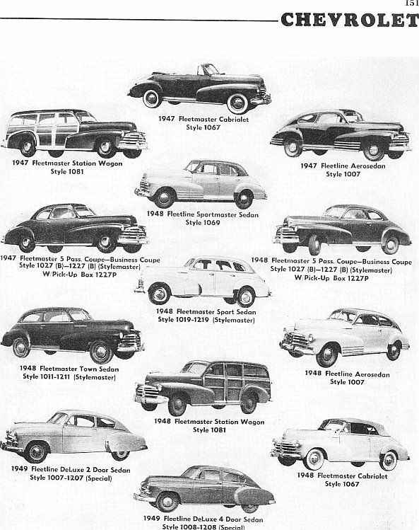 identifying 1946-1953 chevrolet automobiles