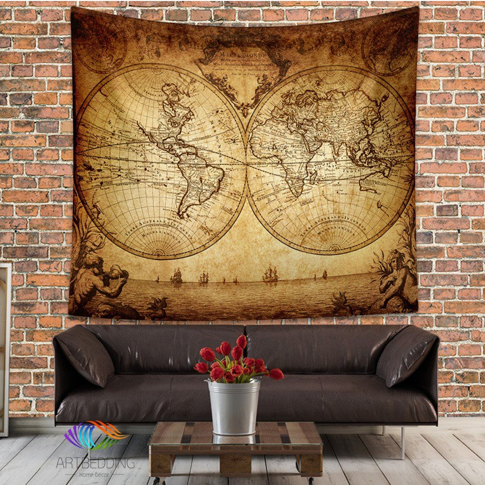Vintage world map wall tapestry, Historical world map wall hanging ...