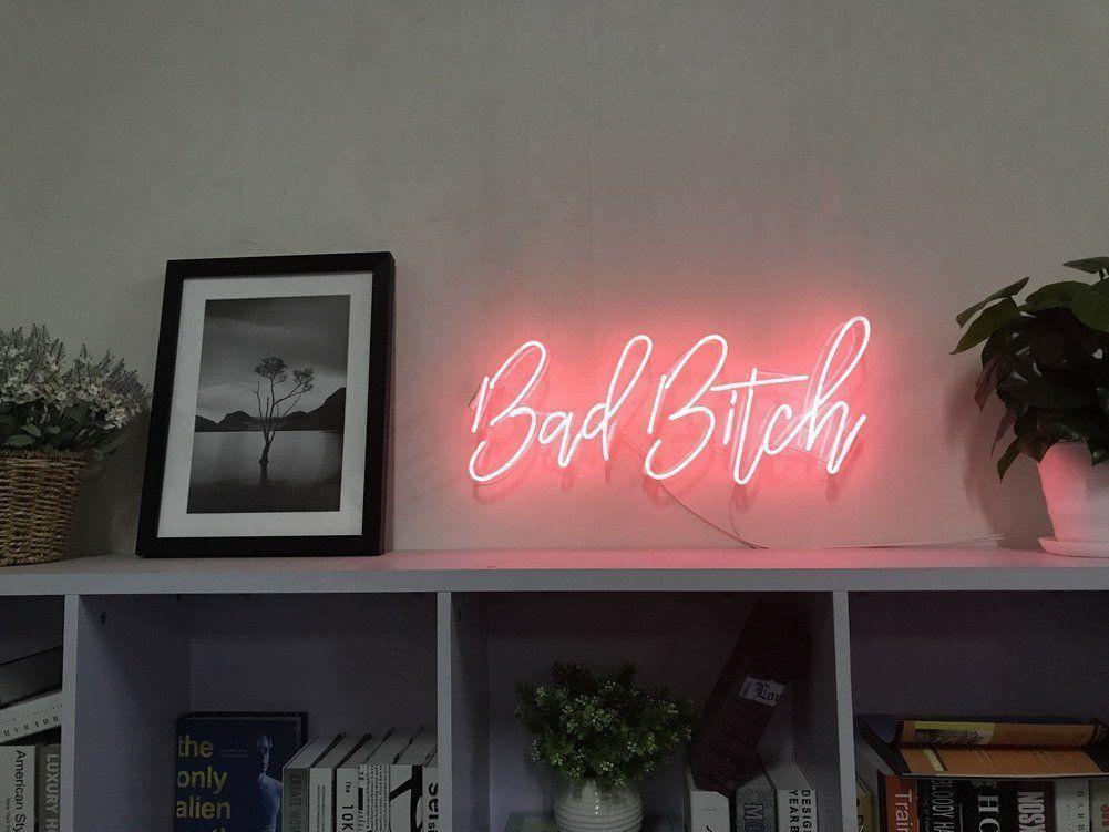 "10/""x10/""Bad Bitch Neon Sign Light Beer Bar Pub Wall Hanging Visual Artwork Decor"