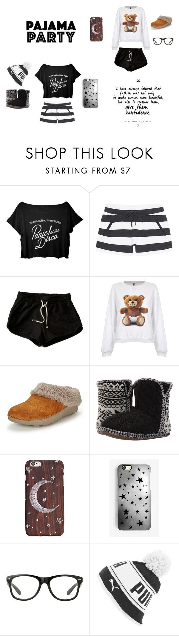 """""""Pajama Party"""" by saugandhinys on Polyvore featuring Juvia, Moschino, FitFlop, Foamtreads, Rianna Phillips and Puma"""