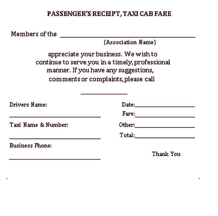 Sample Taxi Receipt Template Receipt Template Business Template Taxi