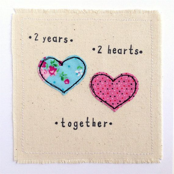 Cotton Anniversary Greetings Card A Handmade Stitched Piece Of Art Measuring 6x6 Anniversary Greeting Cards Anniversary Greetings Wedding Anniversary Cards