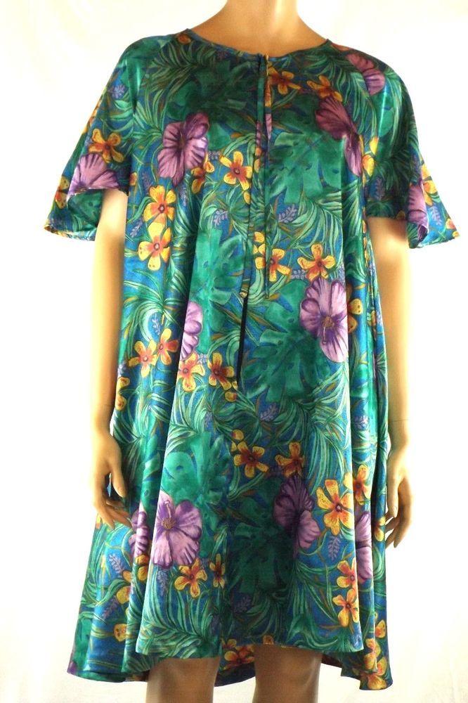 14c877f3fa Women s 1X Kaftan Lounger House Dress Short Sleeve Multi-Color Floral Zip  Front  Serenada  Kaftan  Casual