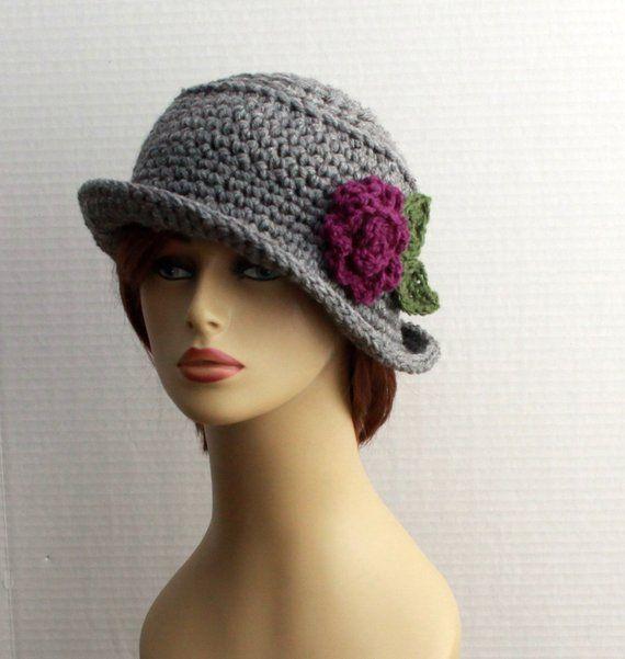 339beb29273 Crochet Womens Hats - brim winter hat - chunky womens hat - 20s style hat -