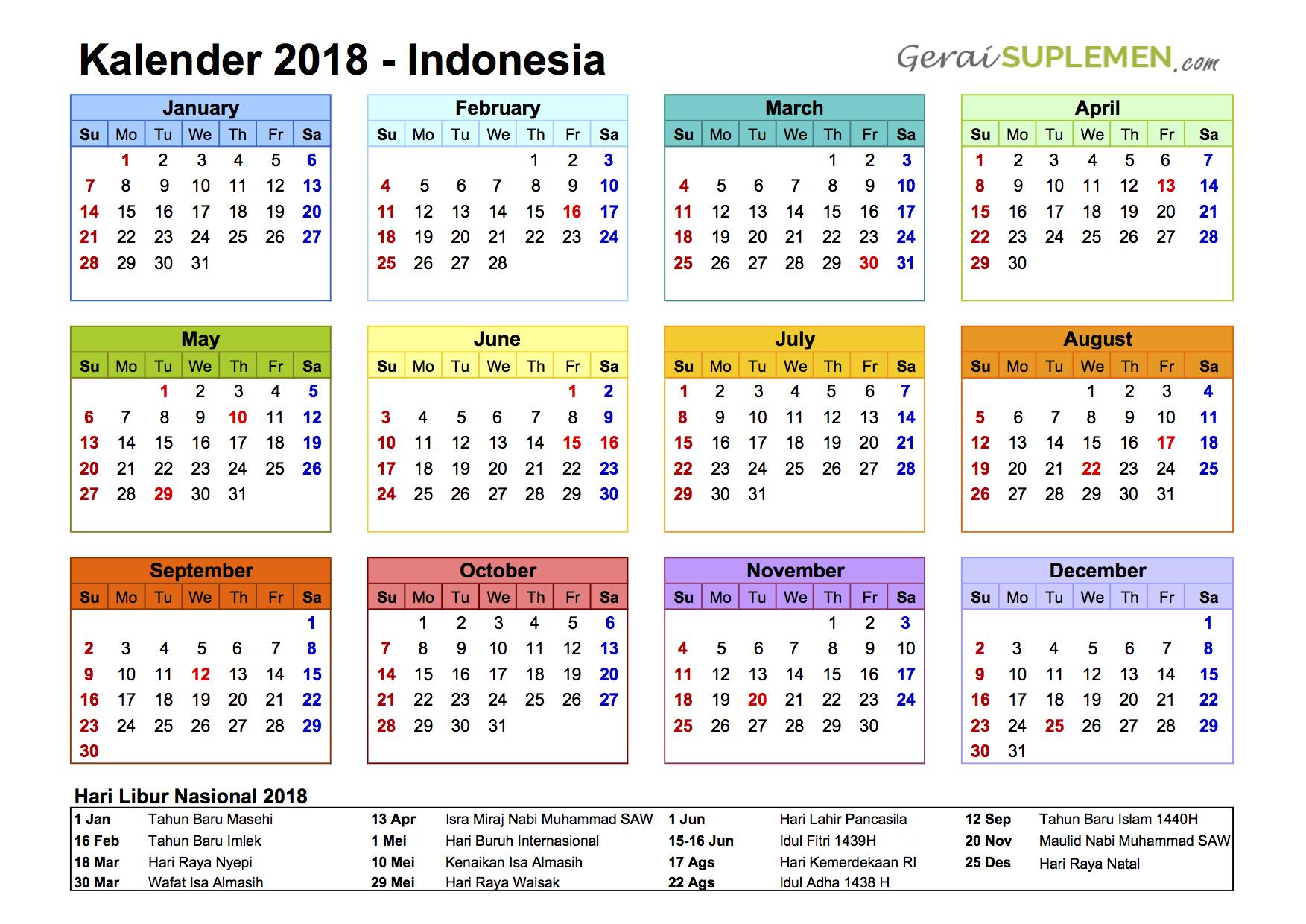 kalender 2018 indonesia dan hari libur nasional ...