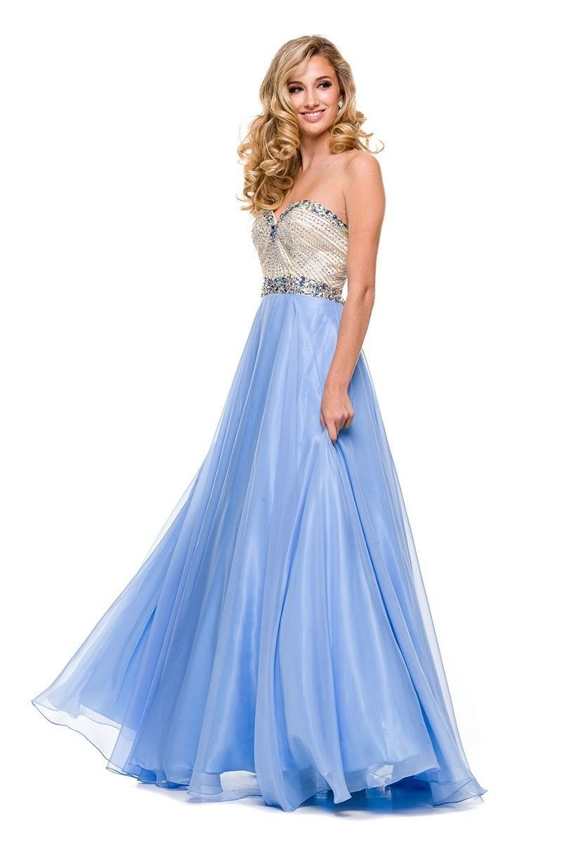 Nox and Nariana PERIWINKLE BEADED STRAPLESS SWEETHEART LONG A-LINE ...