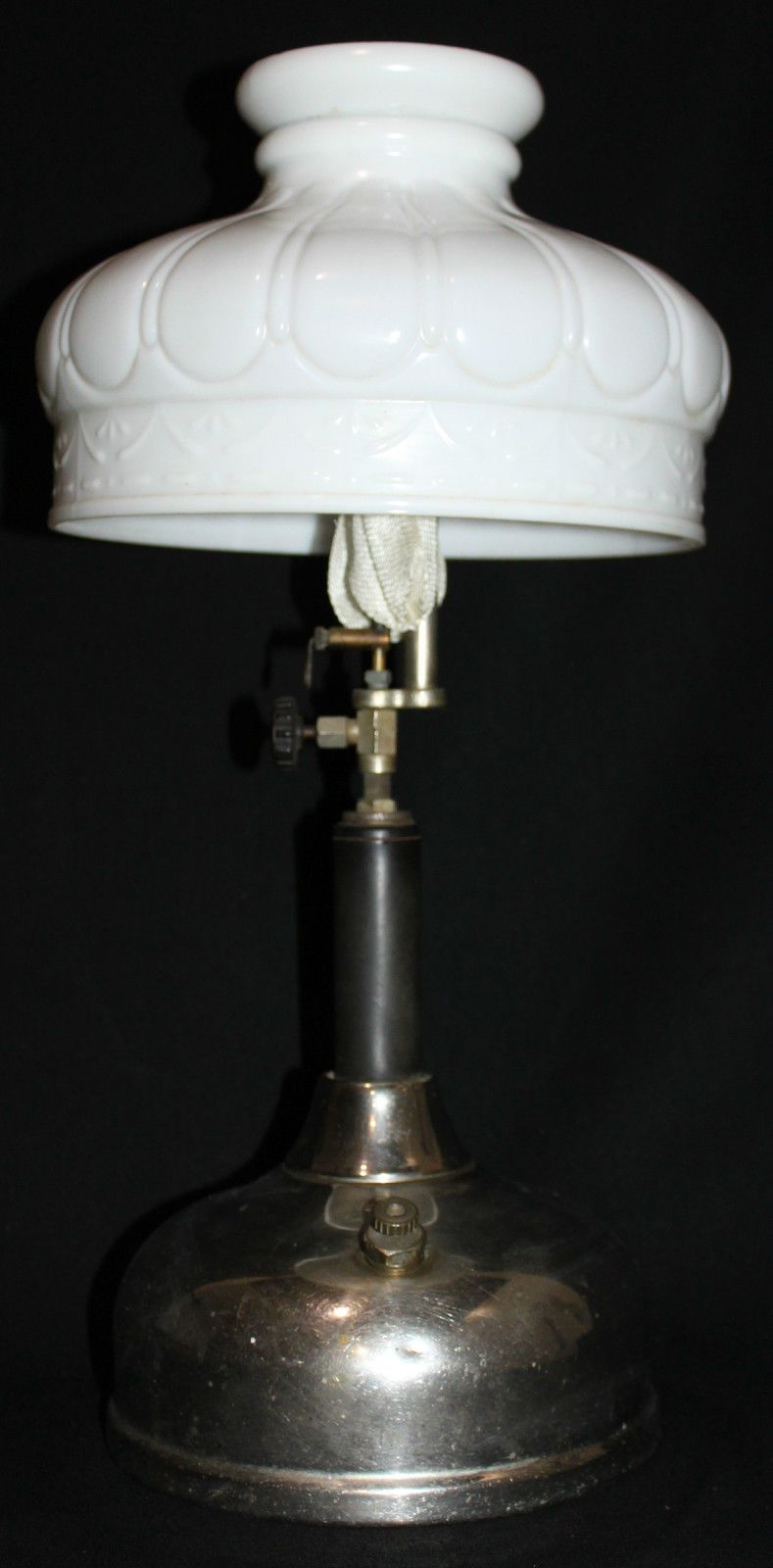 Vintage Coleman Quick Lite Gas Lantern Camping Table Lamp Milk Gl Shade H0