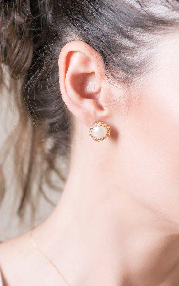Gold Pearl Clip On Earrings By Yoola